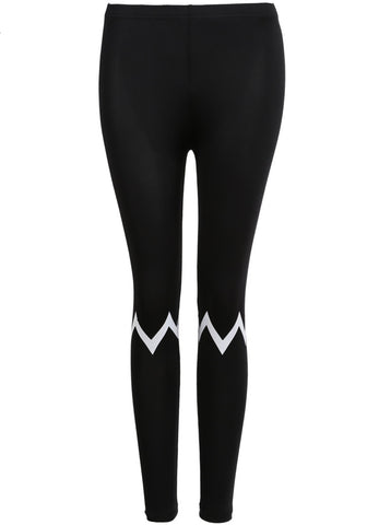Black Slim Zigzag Print Leggings