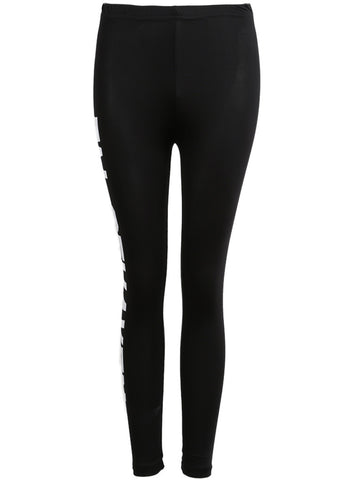 Black Slim Letters Print Leggings