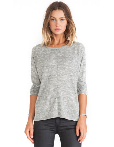 Grey Long Sleeve Split Back Loose T-shirt
