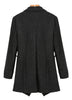 Black Long Sleeve Lapel Woolen Coat