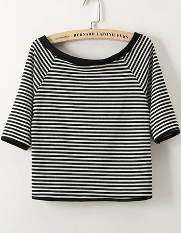 Black Boat Neck Half Sleeve Striped T-Shirt