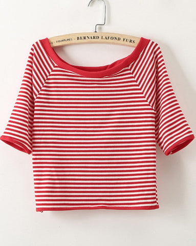 Red Boat Neck Half Sleeve Striped T-Shirt