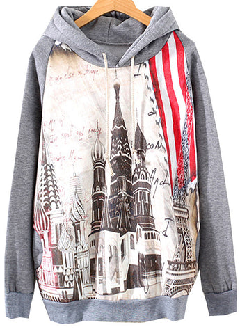 Grey Hooded Long Sleeve Building Print Sweatshirt