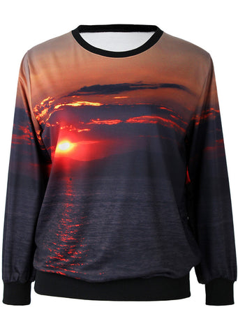 Black Long Sleeve Seaside Sunrise Print Sweatshirt