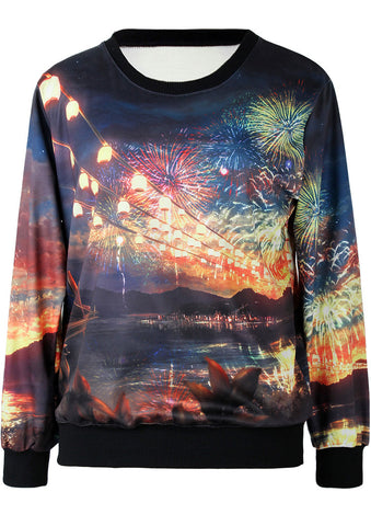Black Long Sleeve Fireworks City Print Sweatshirt