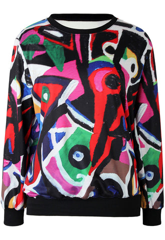 Multicolor Long Sleeve Graffiti Print Loose Sweatshirt