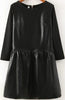 Black Long Sleeve Contrast PU Leather Slim Dress