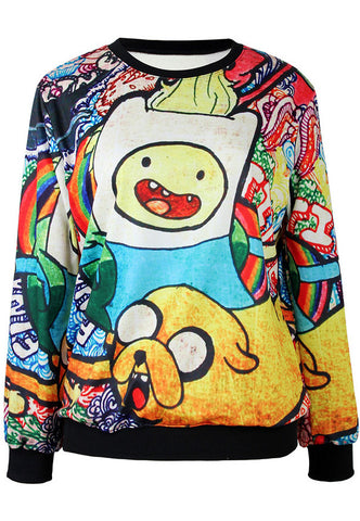 Yellow Long Sleeve Cartoon Print Loose Sweatshirt