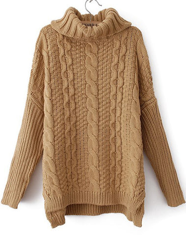 Khaki High Neck Long Sleeve Cable Knit Sweater