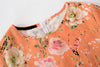 Orange Short Sleeve Floral Birds Print Dress