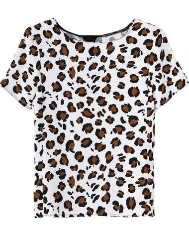 White Short Sleeve Leopard Slim Blouse