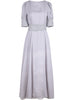 Grey Short Sleeve Embroidered Organza Maxi Dress