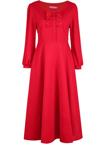 Red Long Sleeve Bow Pleated Maxi Dress