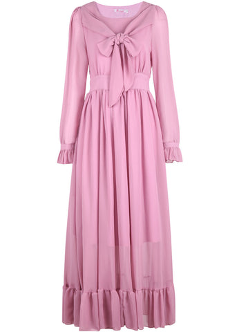 Pink Long Sleeve Pleated Chiffon Dress