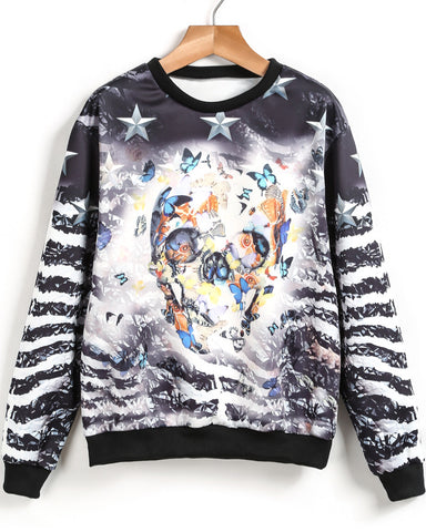 Black Long Sleeve Skull Butterfly Print Sweatshirt