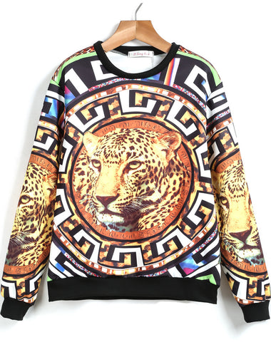 Yellow Long Sleeve Leopard Print Loose Sweatshirt