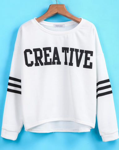 White Long Sleeve CREATIVE Print Sweatshirt