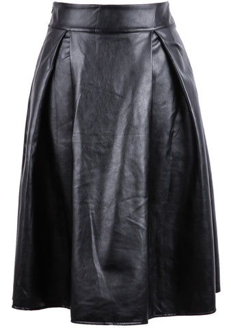 Black High Waist Leather Skirt