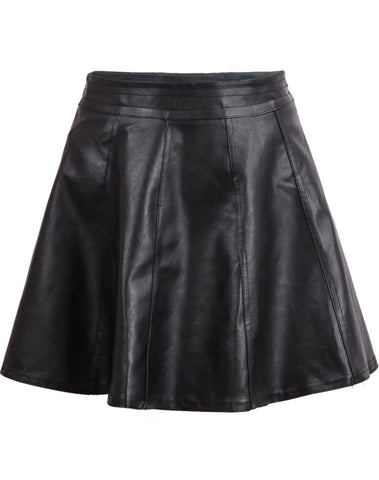 Black High Waist Leather Flare Skirt
