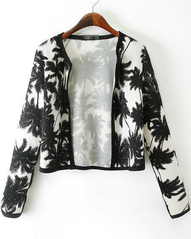 White Black Long Sleeve Coconut Tree Print Crop Jacket