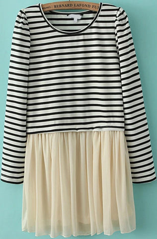 Black White Striped Contrast Gauze Dress