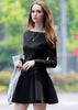 Black Boat Neck Long Sleeve Slim Dress