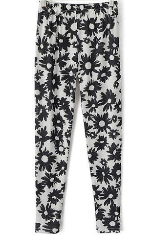 White Slim Daisy Print Leggings