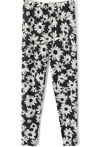 Black Slim Daisy Print Leggings