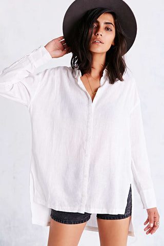 White Long Sleeve Side Slit High Low Shirt