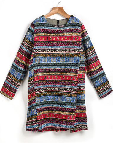 Red Blue Long Sleeve Tribal Print Dress