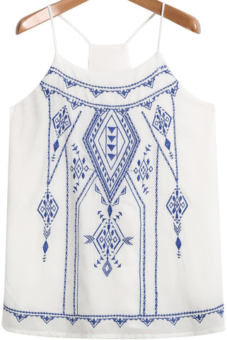 White Spaghetti Strap Embroidered Chiffon Vest