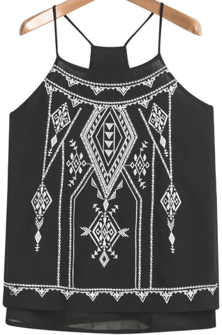 Black Spaghetti Strap Embroidered Chiffon Vest