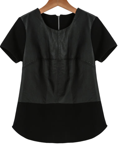 Black Short Sleeve Contrast PU Leather T-Shirt
