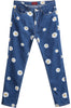 Blue Pockets Daisy Print Denim Pant