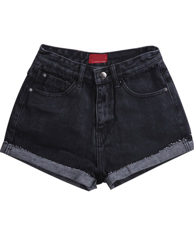 Black Pockets Fringe Denim Shorts