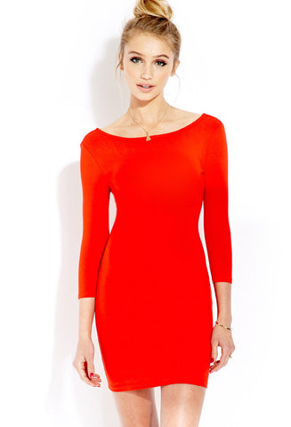 Red Long Sleeve Slim Backless Bodycon Dress