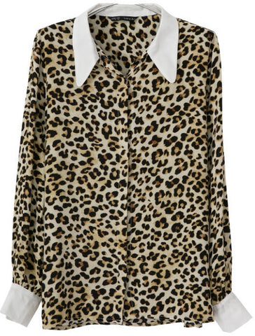 Leopard Lapel Long Sleeve Loose Blouse