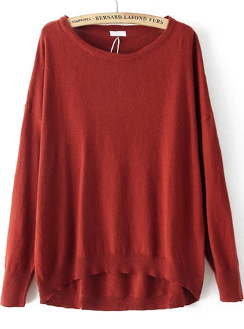 Red Long Sleeve Loose Dipped Hem Sweater