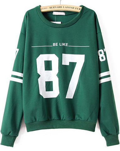 Green Long Sleeve 87 Print Loose Sweatshirt