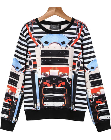 Black Long Sleeve Striped Machinery Print Sweatshirt