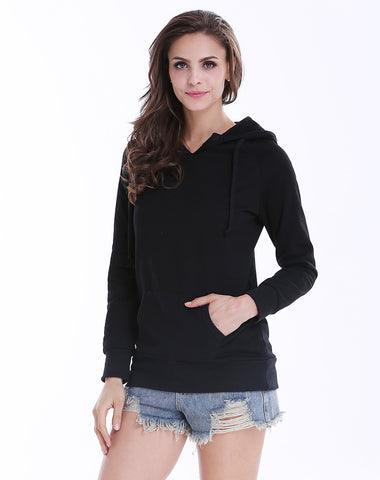 Black Long Sleeve Hooded Pockets Sweatshirt