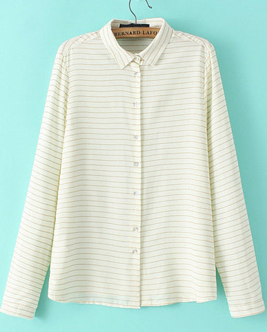 Beige Long Sleeve Striped Loose Blouse