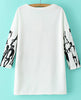 White Long Sleeve Graffiti Print Loose Blouse