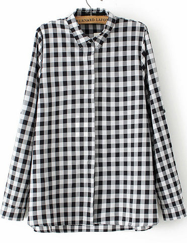Black White Lapel Long Sleeve Plaid Blouse