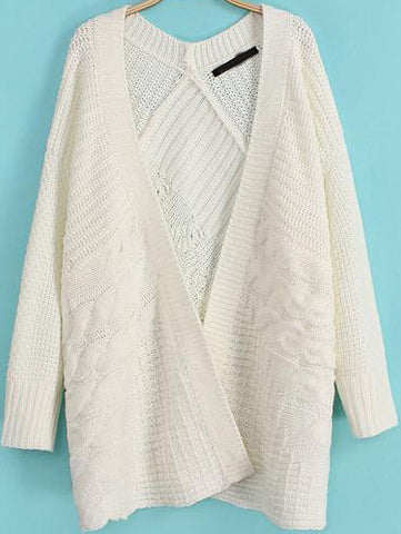 White Long Sleeve Cable Knit Cardigan
