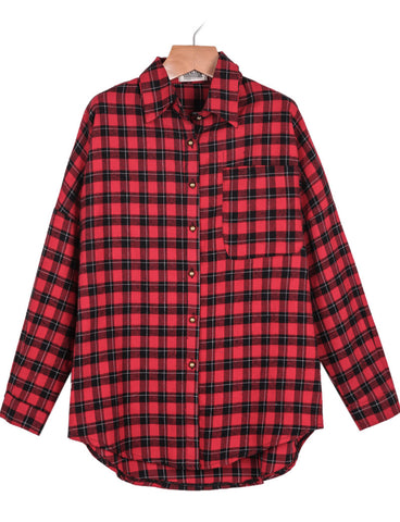 Red Long Sleeve Plaid STRIKE Print Blouse