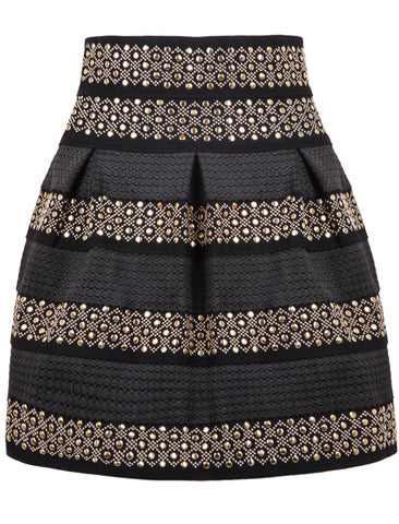 Black High Waist Rivet Striped Skirt