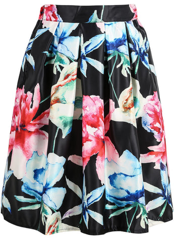 Black Maple Leaf Print Midi Skirt