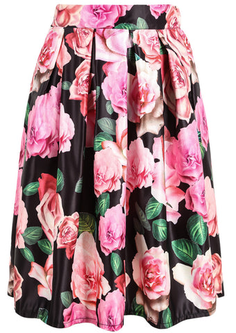 Black Rose Print Midi Skirt