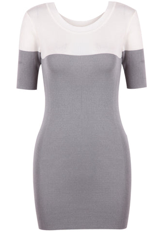 Grey Short Sleeve Skinny Bodycon Knit Dress